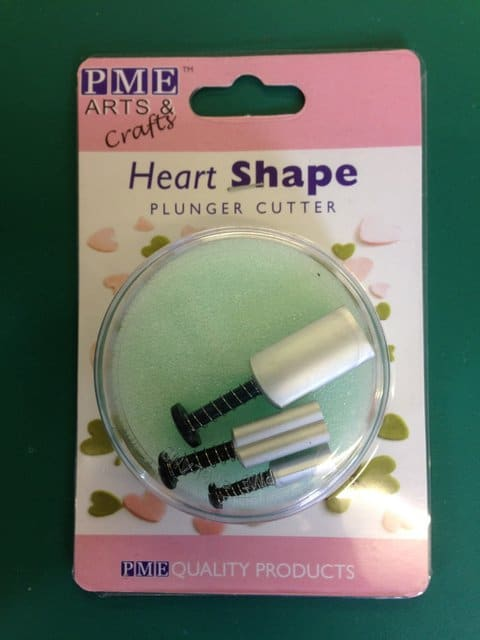 PME Heart Plunger cutter Set of 3 Cake Craft Decorating