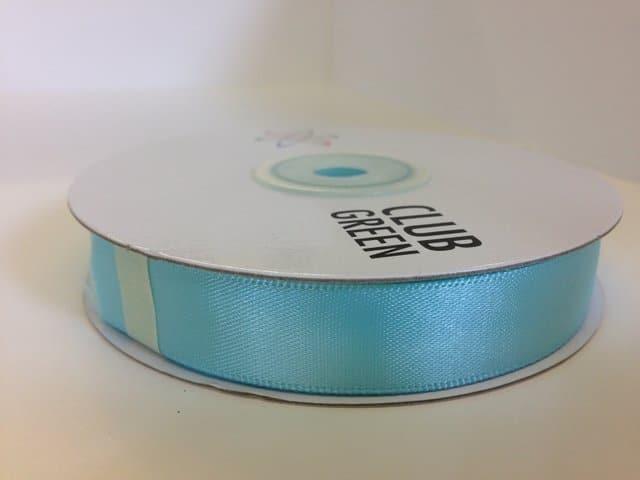 Premium double faced satin ribbon 25m x 15mm Aqua Blue